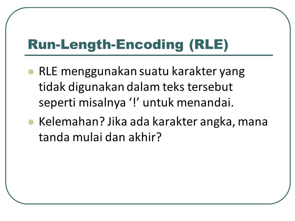 Run-Length-Encoding (RLE) RLE menggunakan suatu karakter yang tidak digunakan dalam teks tersebut seperti misalnya '!' untuk menandai. Kelemahan? Jika