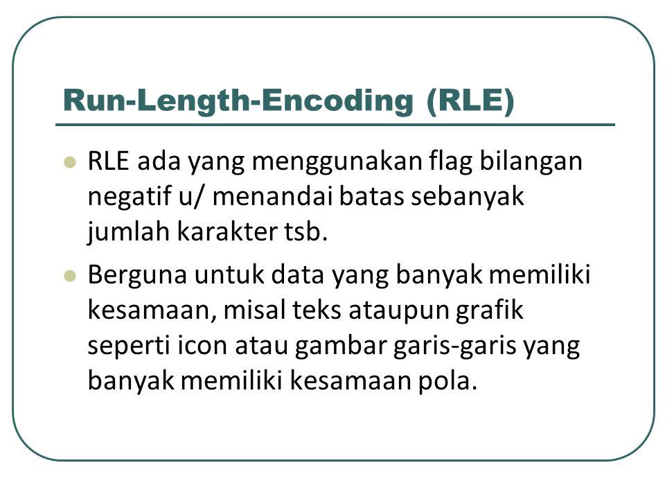 Run-Length-Encoding (RLE) RLE ada yang menggunakan flag bilangan negatif u/ menandai batas sebanyak jumlah karakter tsb. Berguna untuk data yang banya
