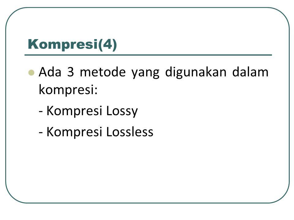 Kompresi Lossy Suatu metode kompresi data yang menghilangkan sebagian Informasi dari file asli (file yang akan dimampatkan) selama proses kompresi berlangsung dengan tidak menghilangkan (secara signifikan) informasi yang ada dalam file secara keseluruhan.