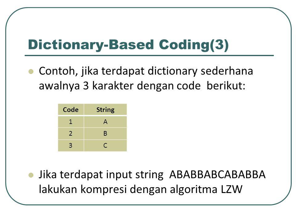 Dictionary-Based Coding(3) Contoh, jika terdapat dictionary sederhana awalnya 3 karakter dengan code berikut: Jika terdapat input string ABABBABCABABB
