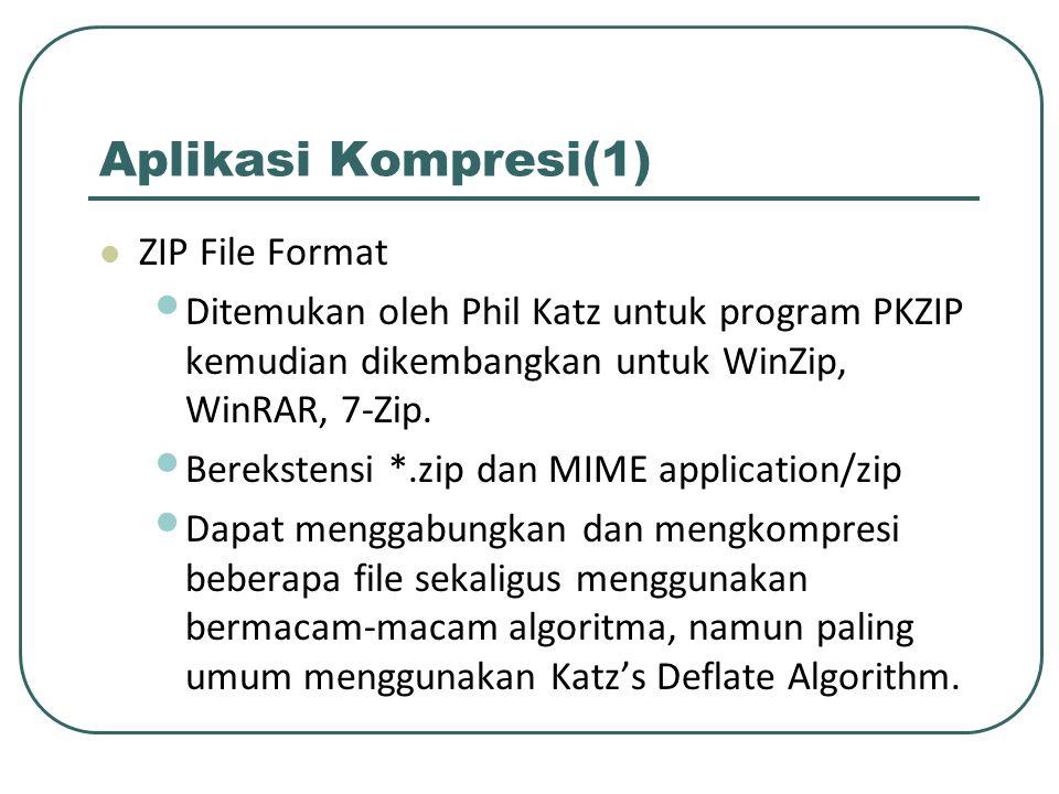 Aplikasi Kompresi(1) ZIP File Format Ditemukan oleh Phil Katz untuk program PKZIP kemudian dikembangkan untuk WinZip, WinRAR, 7-Zip. Berekstensi *.zip