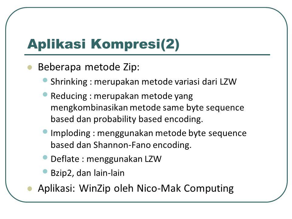 Aplikasi Kompresi(2) Beberapa metode Zip: Shrinking : merupakan metode variasi dari LZW Reducing : merupakan metode yang mengkombinasikan metode same
