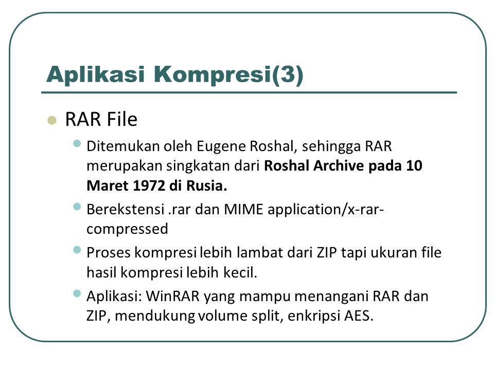 Aplikasi Kompresi(3) RAR File Ditemukan oleh Eugene Roshal, sehingga RAR merupakan singkatan dari Roshal Archive pada 10 Maret 1972 di Rusia. Berekste