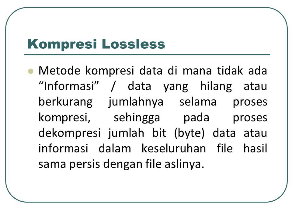 Kompresi Lossless Teknik kompresi dimana data hasil kompresi dapat didekompres lagi dan hasilnya tepat sama seperti data sebelum proses kompresi.