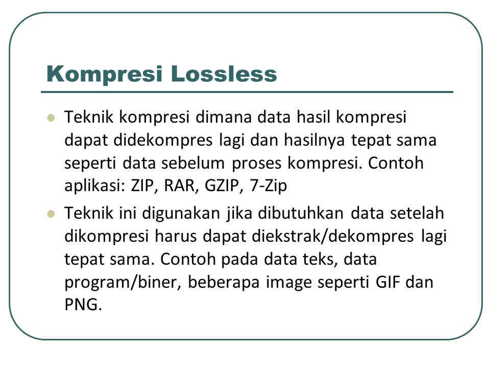 Kompresi Lossless Teknik kompresi dimana data hasil kompresi dapat didekompres lagi dan hasilnya tepat sama seperti data sebelum proses kompresi. Cont