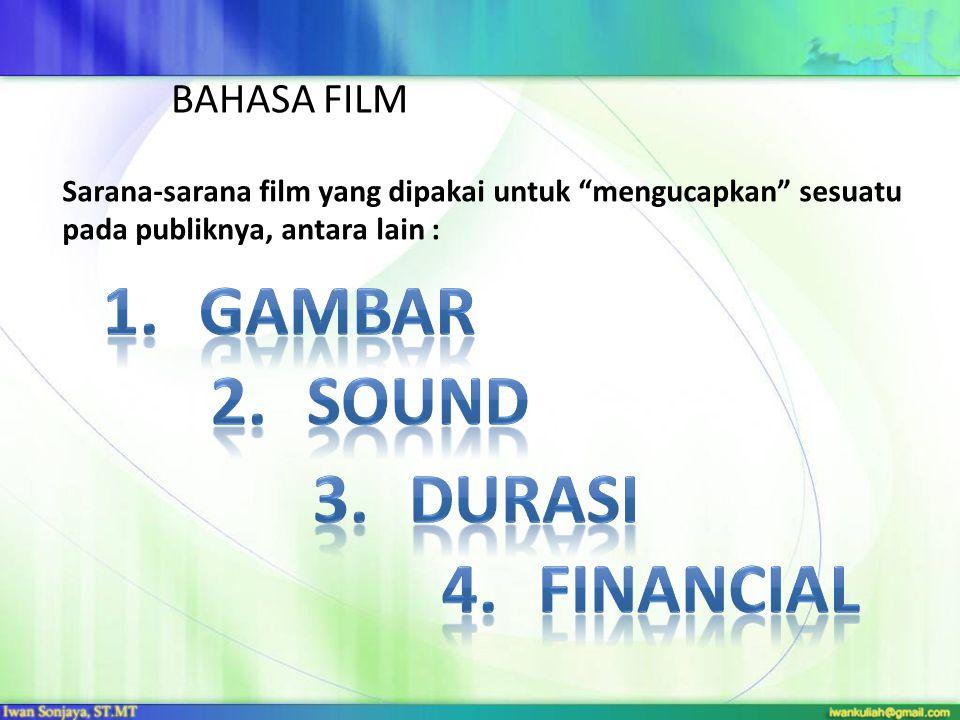 """BAHASA FILM Sarana-sarana film yang dipakai untuk """"mengucapkan"""" sesuatu pada publiknya, antara lain :"""
