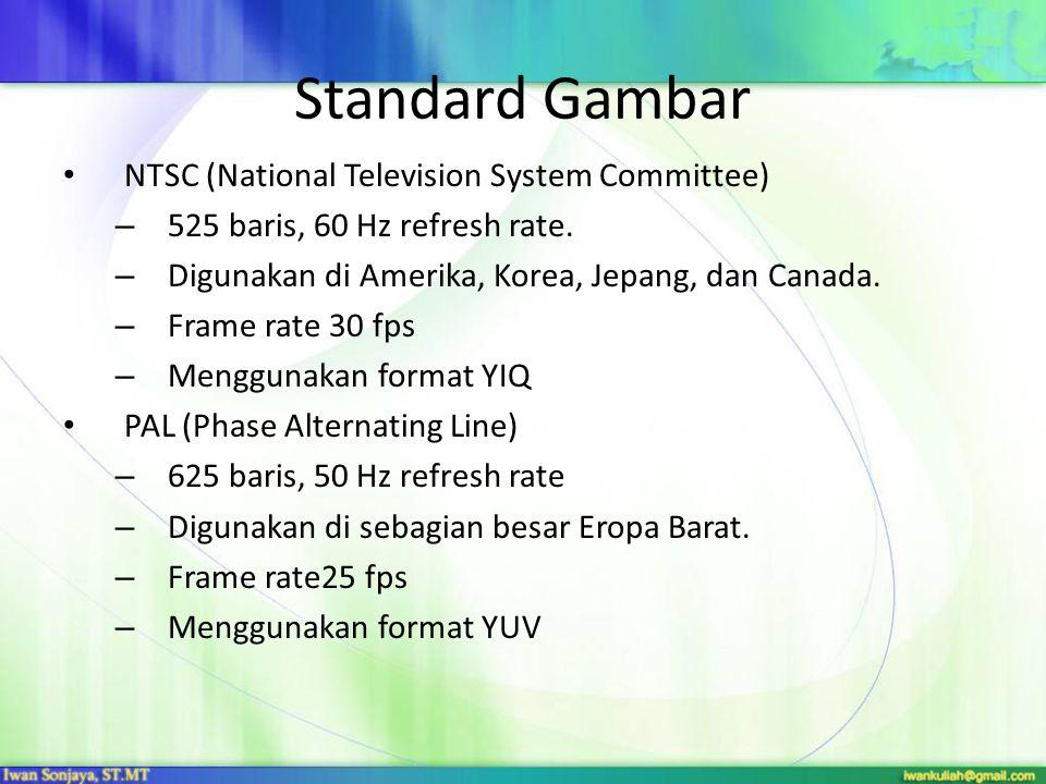 Standard Gambar NTSC (National Television System Committee) – 525 baris, 60 Hz refresh rate. – Digunakan di Amerika, Korea, Jepang, dan Canada. – Fram