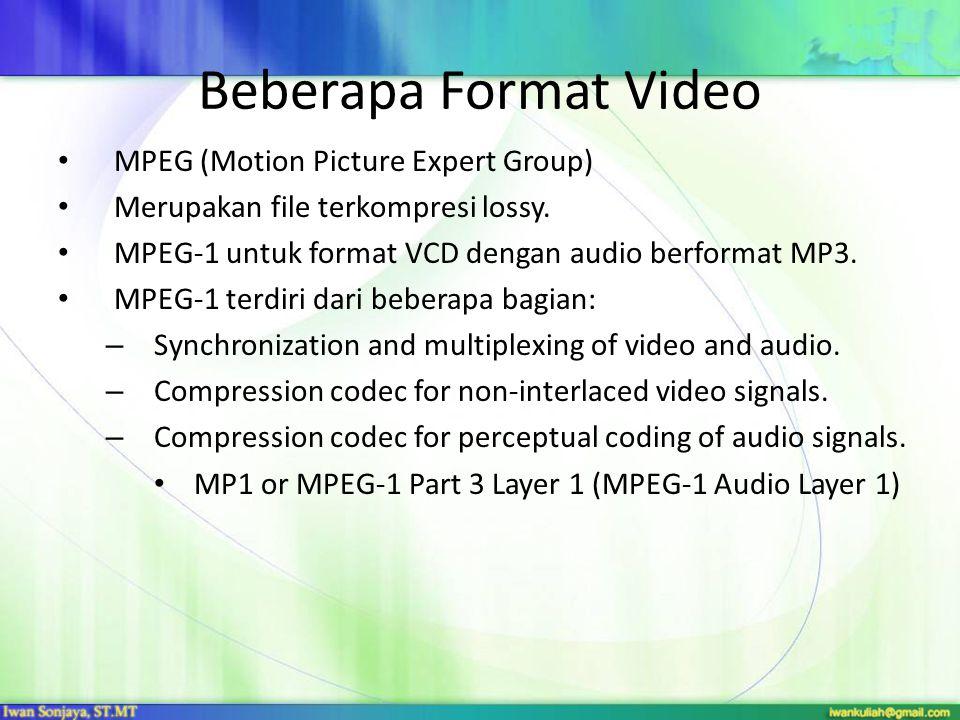 Beberapa Format Video MPEG (Motion Picture Expert Group) Merupakan file terkompresi lossy. MPEG-1 untuk format VCD dengan audio berformat MP3. MPEG-1