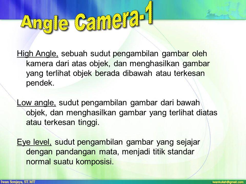 High Angle, sebuah sudut pengambilan gambar oleh kamera dari atas objek, dan menghasilkan gambar yang terlihat objek berada dibawah atau terkesan pend