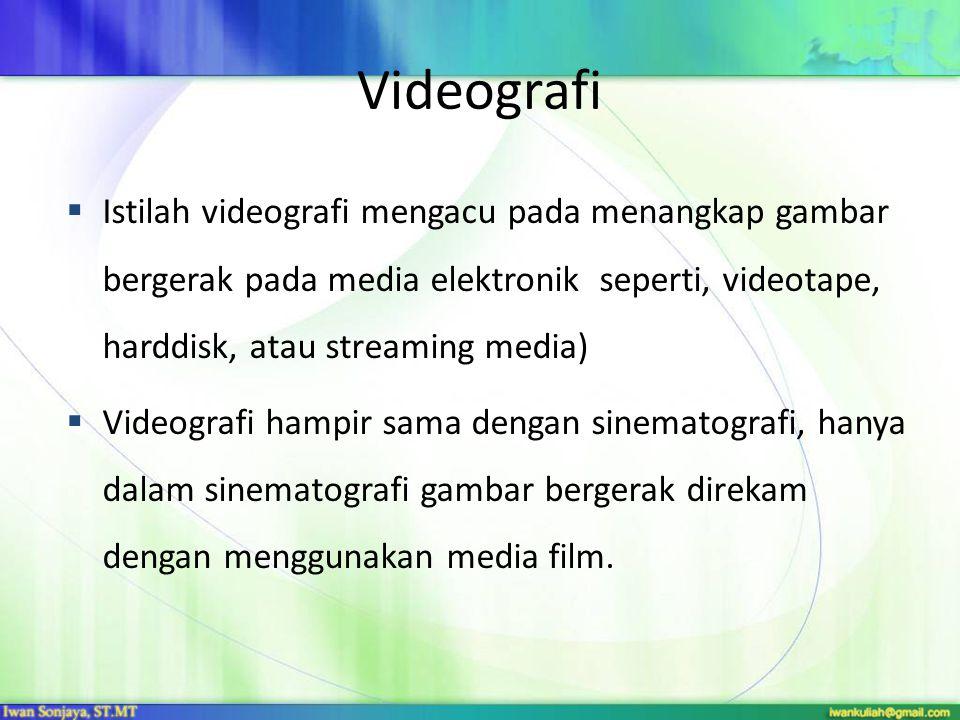Videografi  Istilah videografi mengacu pada menangkap gambar bergerak pada media elektronik seperti, videotape, harddisk, atau streaming media)  Vid