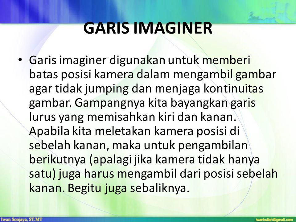 GARIS IMAGINER Garis imaginer digunakan untuk memberi batas posisi kamera dalam mengambil gambar agar tidak jumping dan menjaga kontinuitas gambar. Ga