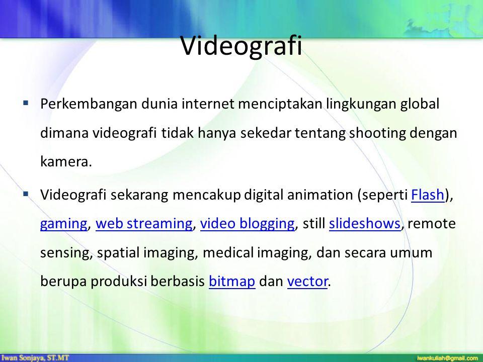 Perkembangan dunia internet menciptakan lingkungan global dimana videografi tidak hanya sekedar tentang shooting dengan kamera.  Videografi sekaran