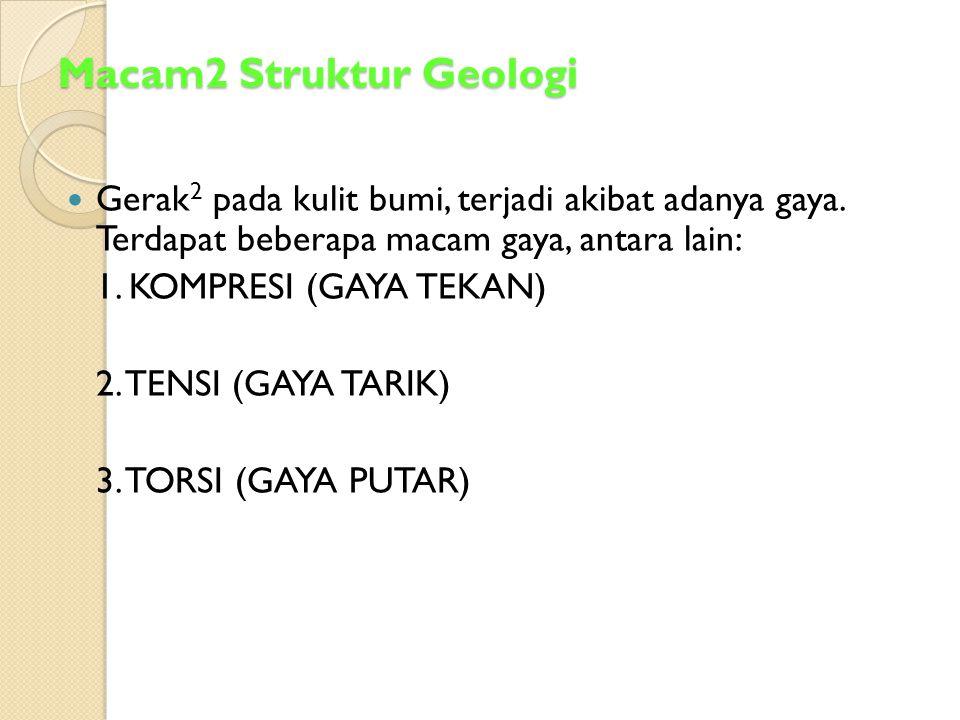 Macam2 Struktur Geologi Gerak 2 pada kulit bumi, terjadi akibat adanya gaya. Terdapat beberapa macam gaya, antara lain: 1. KOMPRESI (GAYA TEKAN) 2. TE