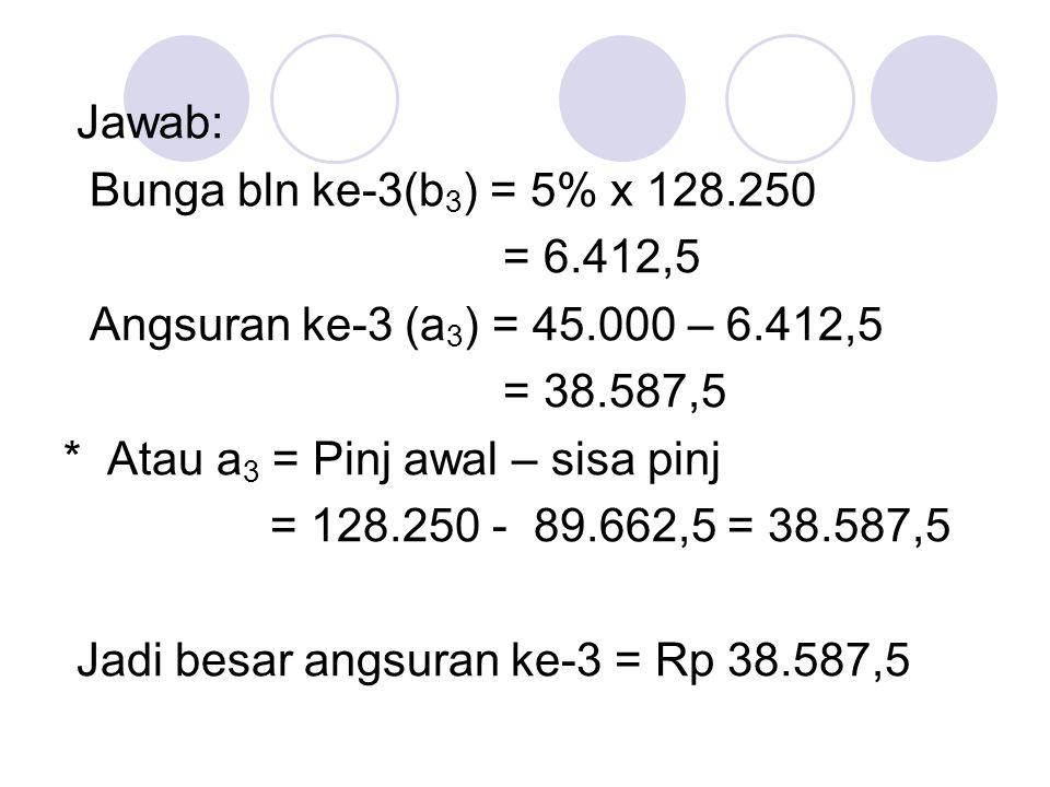 *Menghitung Pelunasan Hutang Jika pelunasan (angsuran) dalam anuitas ke-1 adalah a 1, dalam anuitas ke-n adalah a n, hutang semula M dan suku bunganya i, maka : a n = a 1 (1+i) n-1, a n = a k (1+i) n-k