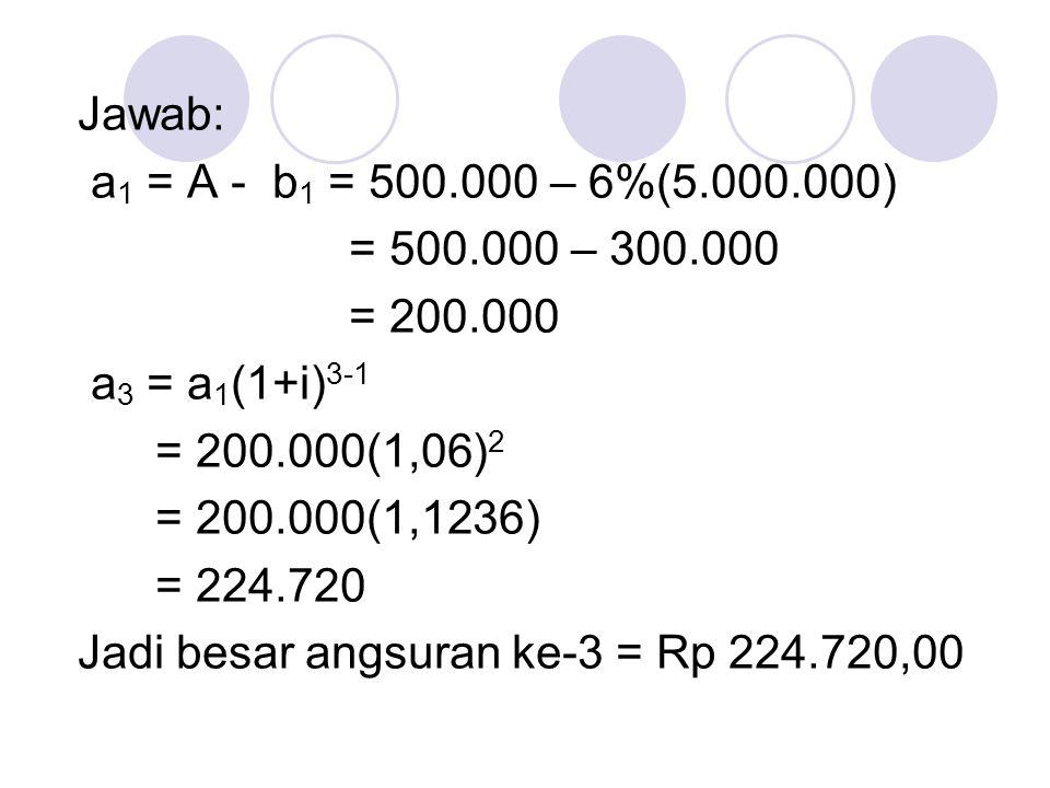 * Menghitung Sisa Pinjaman Sisa pinjaman setelah pembayaran anuitas ke-m (m<n) dapat dihitung dengan cara: 1.