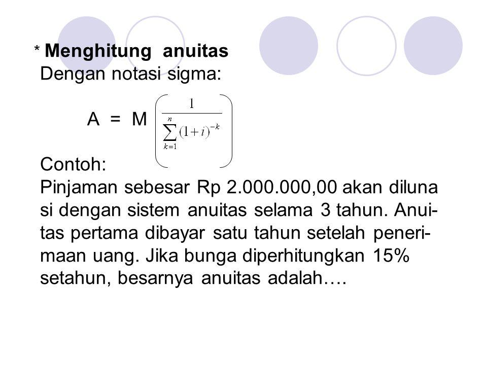 Jawab: A = 2.000.000 = 2.000.000(0,4380) = 876.000 Jadi besarnya anuitas = Rp 876.000,00 n15% 2323 0,6151 0,4380