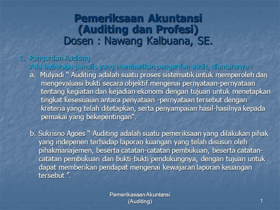 Pemerikasaan Akuntansi (Auditing)1 Pemeriksaan Akuntansi (Auditing dan Profesi) Dosen : Nawang Kalbuana, SE. 1. Pengertian Auditing Ada beberapa penul