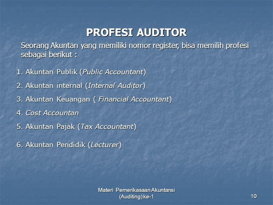 Materi Pemerikasaan Akuntansi (Auditing) ke-110 PROFESI AUDITOR 1. Akuntan Publik (Public Accountant) 3. Akuntan Keuangan ( Financial Accountant) 2. A