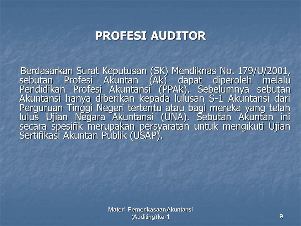 Materi Pemerikasaan Akuntansi (Auditing) ke-19 PROFESI AUDITOR Berdasarkan Surat Keputusan (SK) Mendiknas No. 179/U/2001, sebutan Profesi Akuntan (Ak)