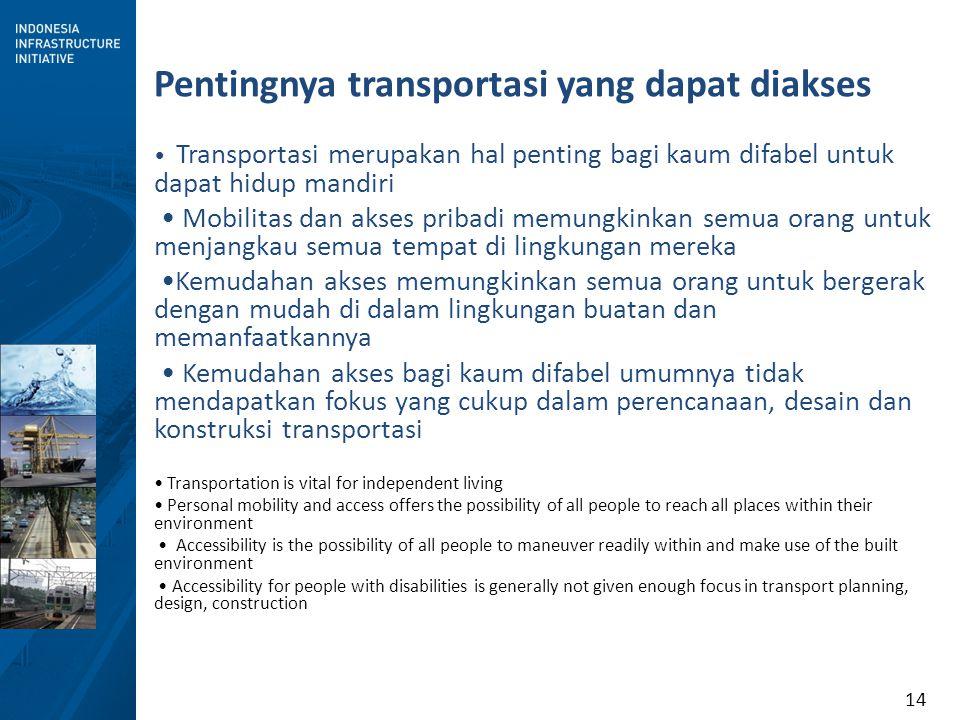 14 Pentingnya transportasi yang dapat diakses Transportasi merupakan hal penting bagi kaum difabel untuk dapat hidup mandiri Mobilitas dan akses priba