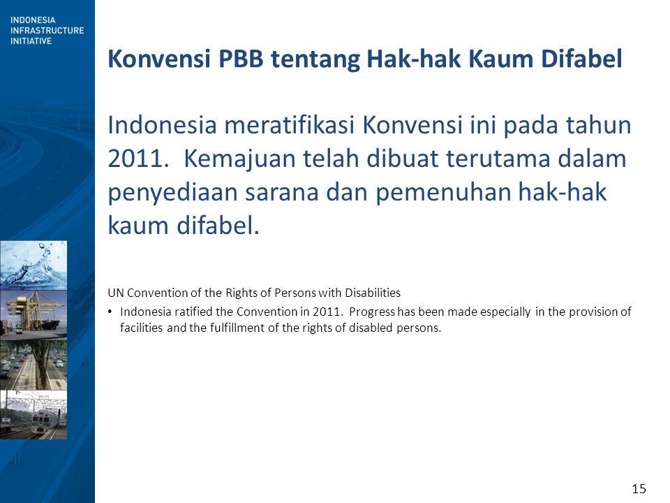 15 Konvensi PBB tentang Hak-hak Kaum Difabel Indonesia meratifikasi Konvensi ini pada tahun 2011. Kemajuan telah dibuat terutama dalam penyediaan sara