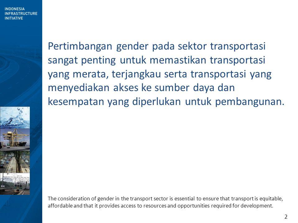 2 Pertimbangan gender pada sektor transportasi sangat penting untuk memastikan transportasi yang merata, terjangkau serta transportasi yang menyediakan akses ke sumber daya dan kesempatan yang diperlukan untuk pembangunan.