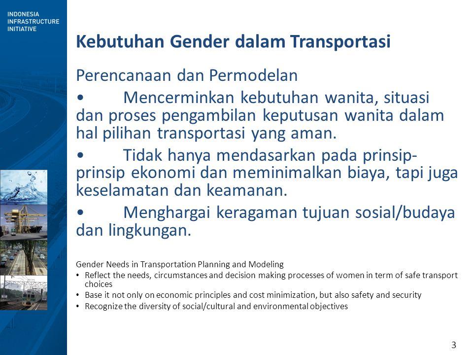 3 Kebutuhan Gender dalam Transportasi Perencanaan dan Permodelan Mencerminkan kebutuhan wanita, situasi dan proses pengambilan keputusan wanita dalam hal pilihan transportasi yang aman.