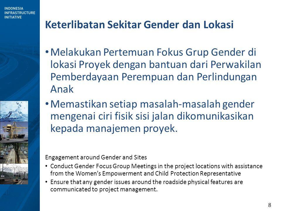 8 Keterlibatan Sekitar Gender dan Lokasi Melakukan Pertemuan Fokus Grup Gender di lokasi Proyek dengan bantuan dari Perwakilan Pemberdayaan Perempuan dan Perlindungan Anak Memastikan setiap masalah-masalah gender mengenai ciri fisik sisi jalan dikomunikasikan kepada manajemen proyek.