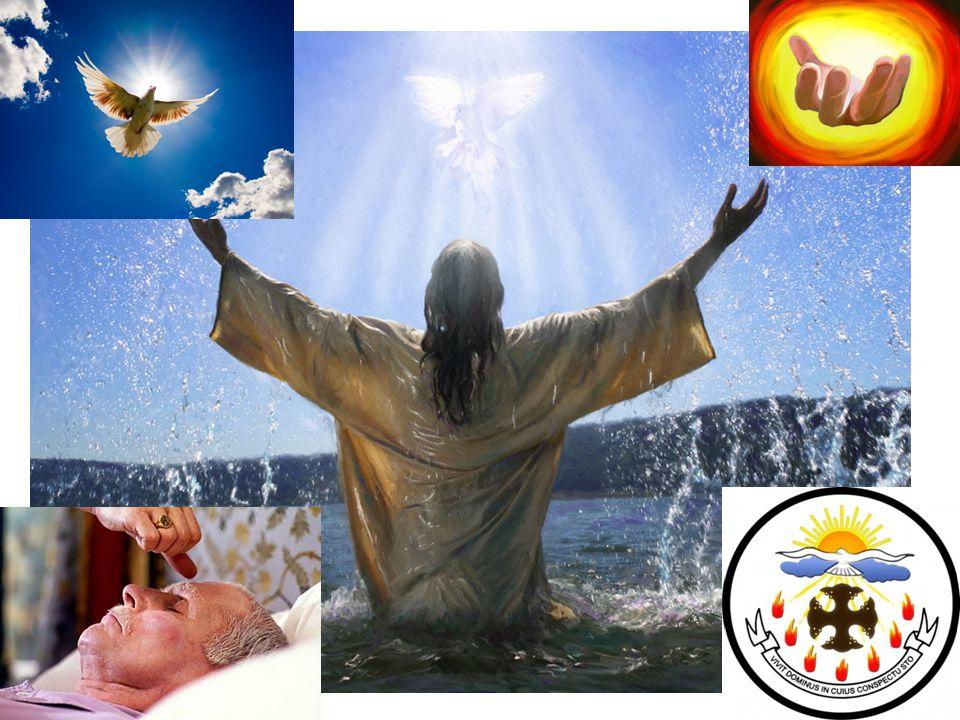 Tanda atau Lambang Roh Kudus 1.A ir (lambang kelahiran kembali) 2.U rapan (melambangkan pemberian kekuatan baru) 3.A pi (lambang keberanian sebagai saksi Kristus) 4.A wan dan Sinar (lambang kehadiran Allah) 5.M aterai (melambangkan milik Allah selamanya) 6.T angan (lambang pemberian Roh Kudus) 7.J ari (lambang karya Tangan Allah) 8.M erpati (lambang pembabtisan)