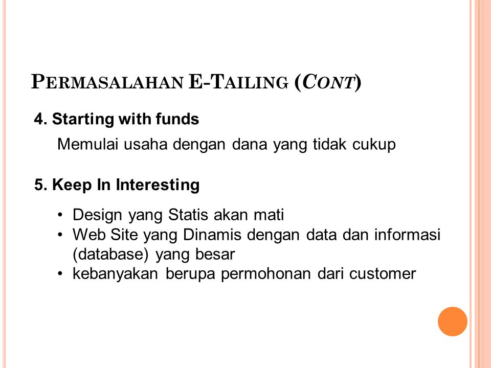P ERMASALAHAN E-T AILING ( C ONT ) 4.Starting with funds 5.