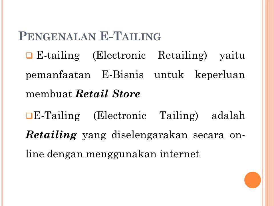  E-tailing (Electronic Retailing) yaitu pemanfaatan E-Bisnis untuk keperluan membuat Retail Store  E-Tailing (Electronic Tailing) adalah Retailing y