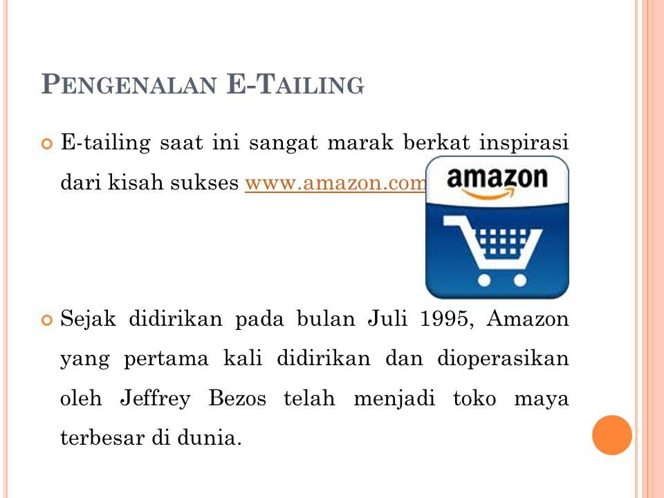 P ENGENALAN E-T AILING E-tailing saat ini sangat marak berkat inspirasi dari kisah sukses www.amazon.com.www.amazon.com Sejak didirikan pada bulan Jul