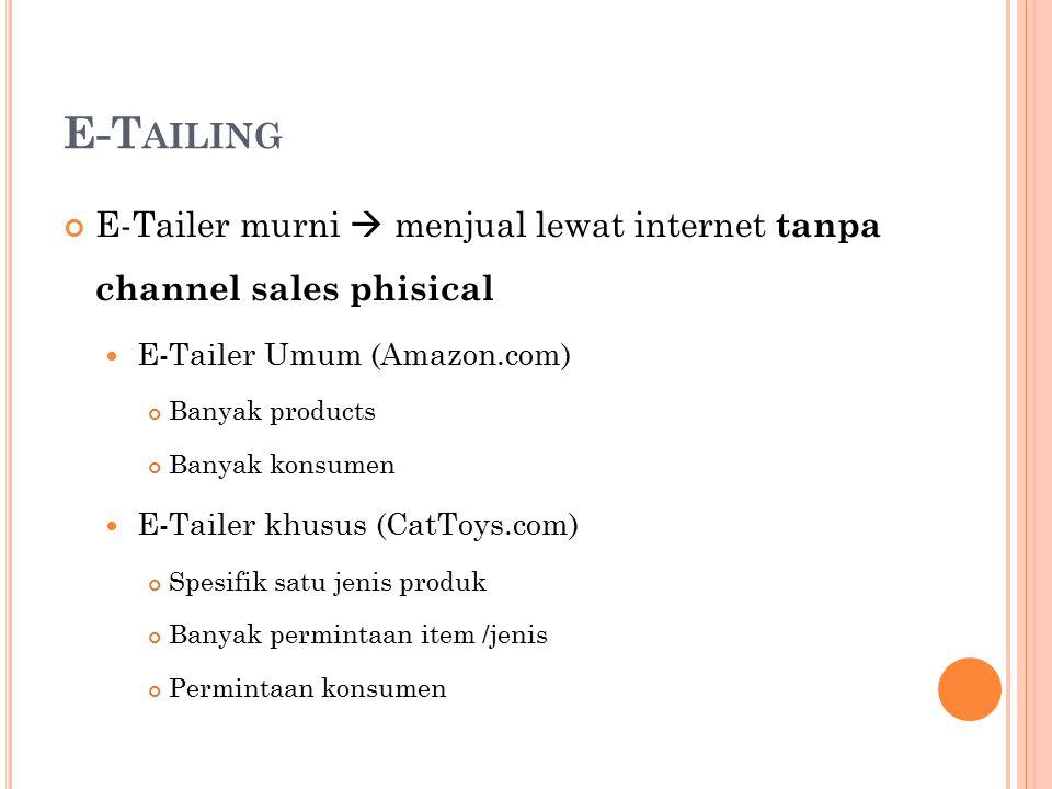 E-T AILING E-Tailer murni  menjual lewat internet tanpa channel sales phisical E-Tailer Umum (Amazon.com) Banyak products Banyak konsumen E-Tailer kh