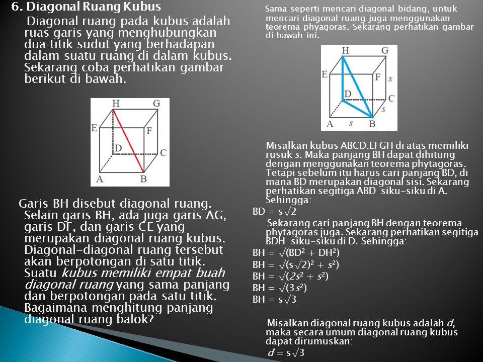 6. Diagonal Ruang Kubus Diagonal ruang pada kubus adalah ruas garis yang menghubungkan dua titik sudut yang berhadapan dalam suatu ruang di dalam kubu