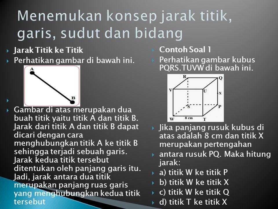  Jarak Titik ke Titik  Perhatikan gambar di bawah ini.   Gambar di atas merupakan dua buah titik yaitu titik A dan titik B. Jarak dari titik A dan