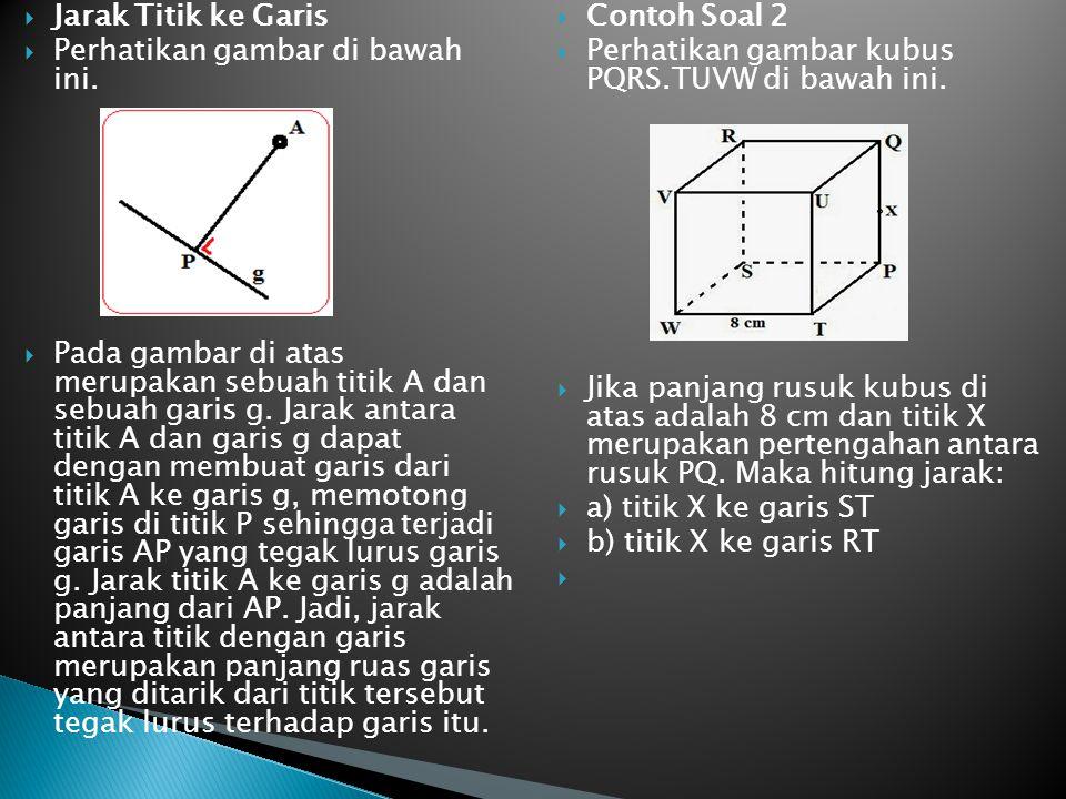  Jarak Titik ke Garis  Perhatikan gambar di bawah ini.  Pada gambar di atas merupakan sebuah titik A dan sebuah garis g. Jarak antara titik A dan g