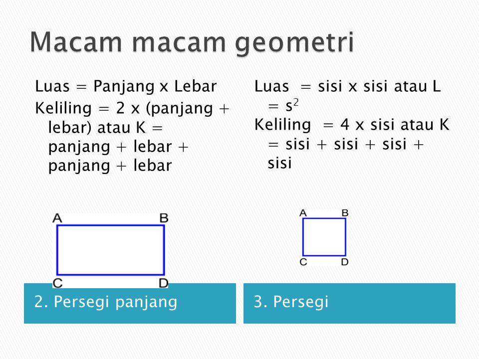 2. Persegi panjang3. Persegi Luas = Panjang x Lebar Keliling = 2 x (panjang + lebar) atau K = panjang + lebar + panjang + lebar Luas = sisi x sisi ata