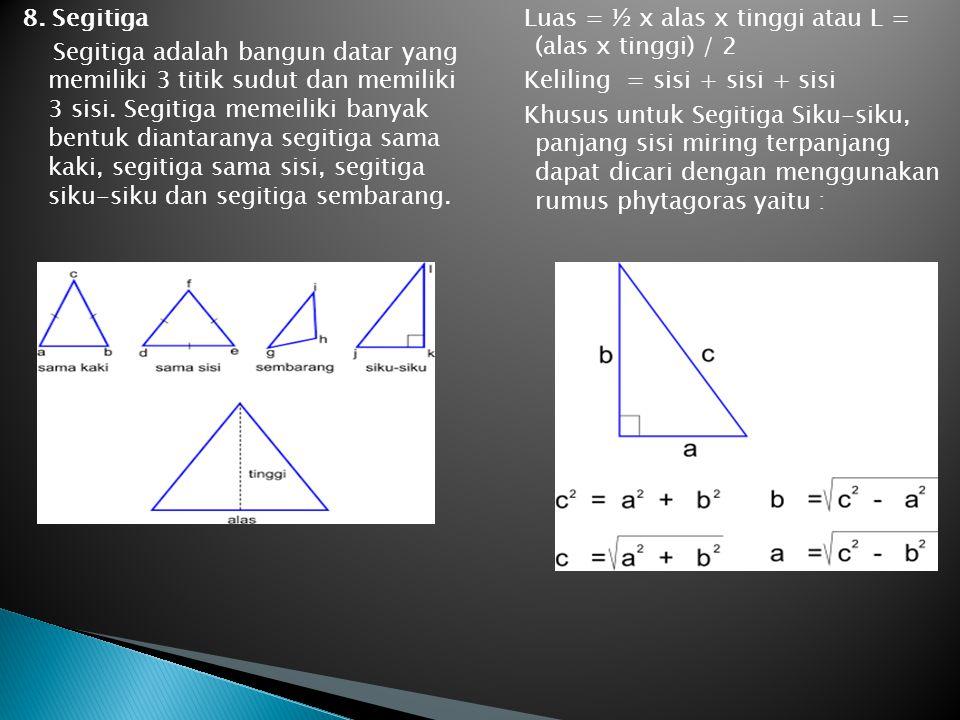 8. Segitiga Segitiga adalah bangun datar yang memiliki 3 titik sudut dan memiliki 3 sisi. Segitiga memeiliki banyak bentuk diantaranya segitiga sama k