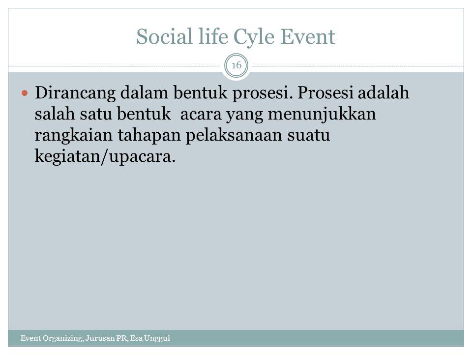 Karakteristik Social life Cyle Event Event Organizing, Jurusan PR, Esa Unggul 17 a.