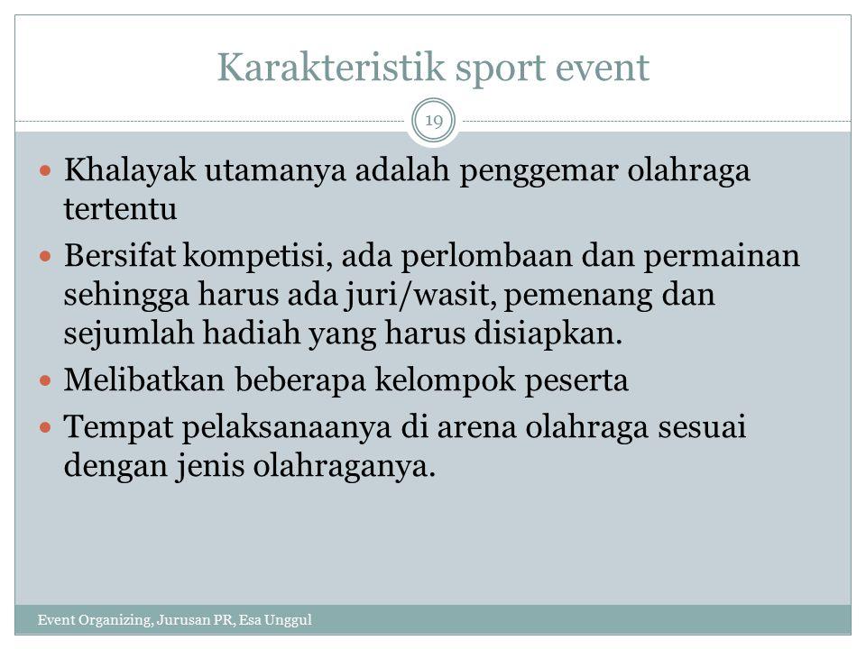 Event Organizing, Jurusan PR, Esa Unggul 20 Acara dikemas sporty dan biasanya sangat sederhana kecuali pada acara pembukaan atau penutupan sport event tersebut.