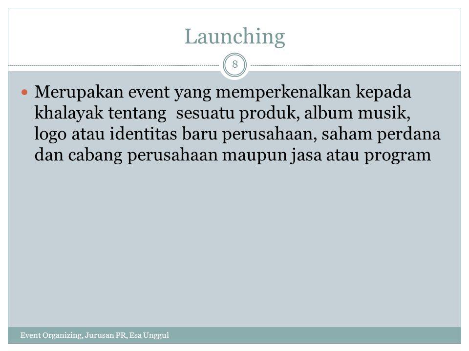 Karakteristik launching Event Organizing, Jurusan PR, Esa Unggul 9