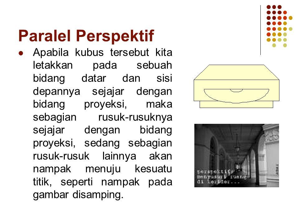 Paralel Perspektif Apabila kubus tersebut kita letakkan pada sebuah bidang datar dan sisi depannya sejajar dengan bidang proyeksi, maka sebagian rusuk-rusuknya sejajar dengan bidang proyeksi, sedang sebagian rusuk-rusuk lainnya akan nampak menuju kesuatu titik, seperti nampak pada gambar disamping.