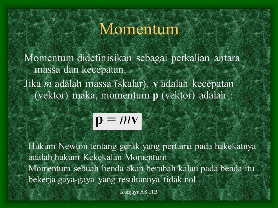 Kunjaya AS-ITB Momentum Momentum didefinisikan sebagai perkalian antara massa dan kecepatan. Jika m adalah massa (skalar), v adalah kecepatan (vektor)