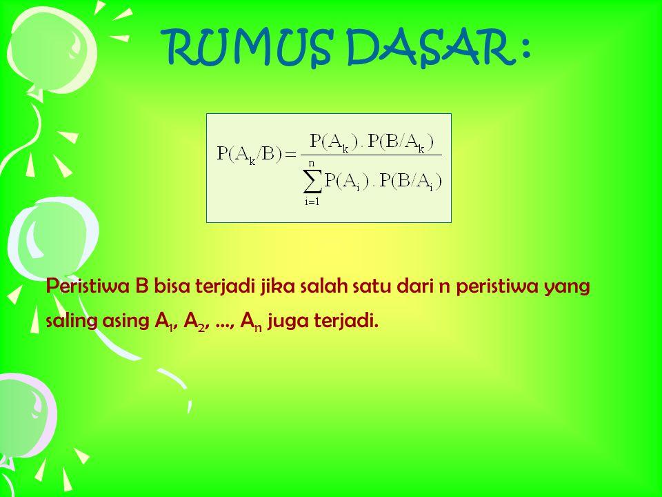 RUMUS DASAR : Peristiwa B bisa terjadi jika salah satu dari n peristiwa yang saling asing A 1, A 2,..., A n juga terjadi.