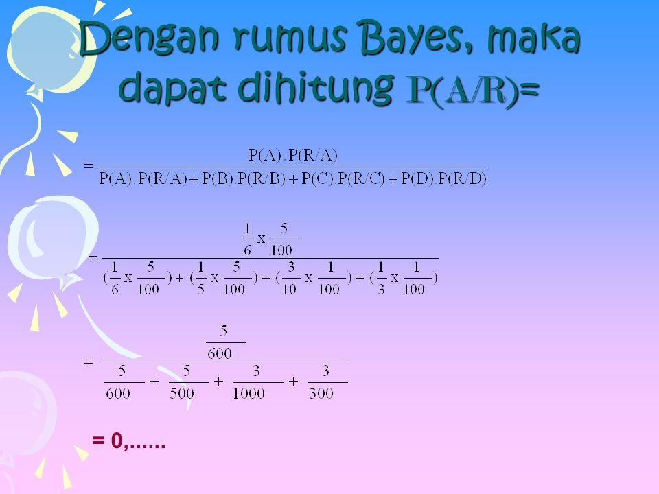 Dengan rumus Bayes, maka dapat dihitung P(A/R) = = 0,......