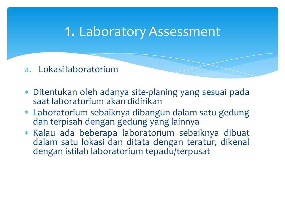 a.Lokasi laboratorium  Ditentukan oleh adanya site-planing yang sesuai pada saat laboratorium akan didirikan  Laboratorium sebaiknya dibangun dalam