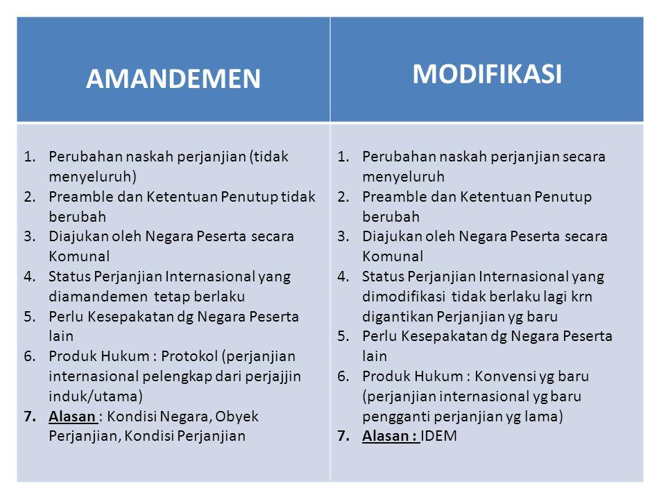 AMANDEMEN MODIFIKASI 1.Perubahan naskah perjanjian (tidak menyeluruh) 2.Preamble dan Ketentuan Penutup tidak berubah 3.Diajukan oleh Negara Peserta se
