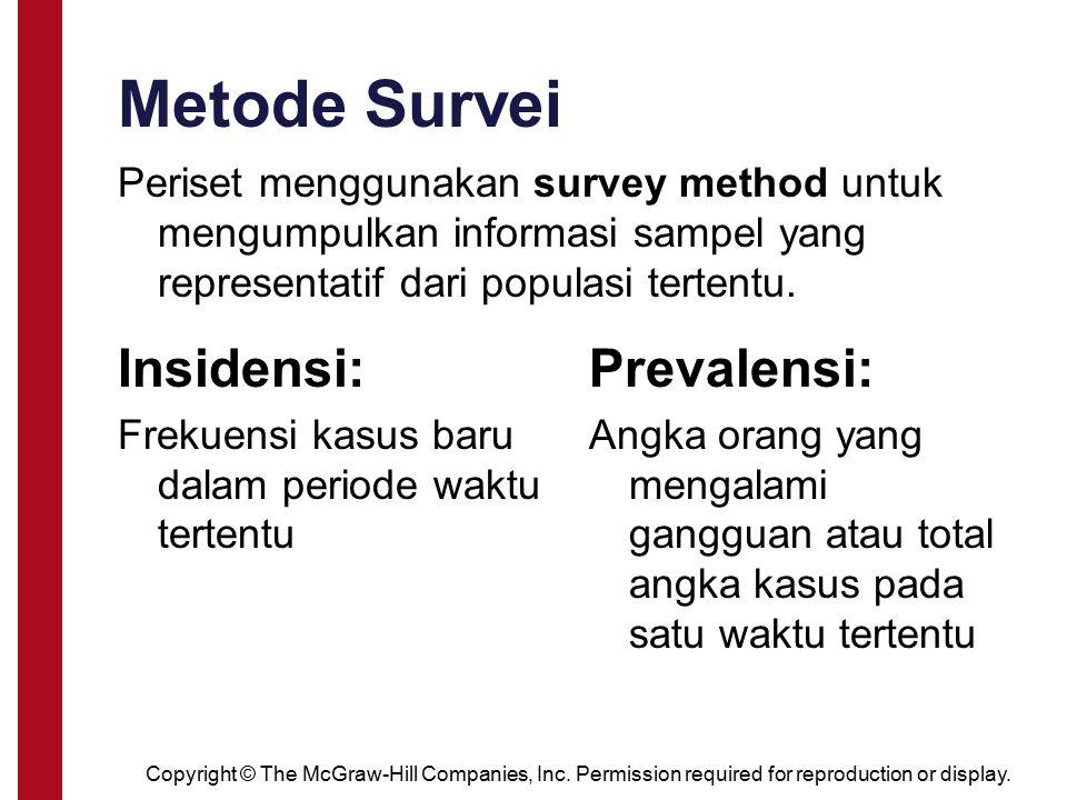 Metode Survei Insidensi: Frekuensi kasus baru dalam periode waktu tertentu Prevalensi: Angka orang yang mengalami gangguan atau total angka kasus pada