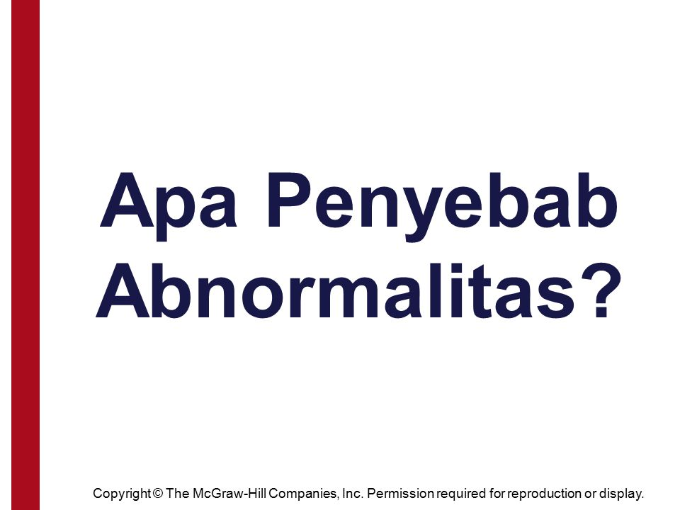 Copyright © The McGraw-Hill Companies, Inc. Permission required for reproduction or display. Apa Penyebab Abnormalitas?