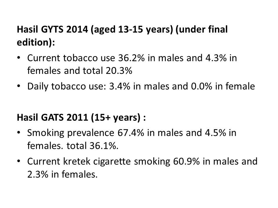 Hasil GYTS 2014 (aged 13-15 years) (under final edition): Current tobacco use 36.2% in males and 4.3% in females and total 20.3% Daily tobacco use: 3.